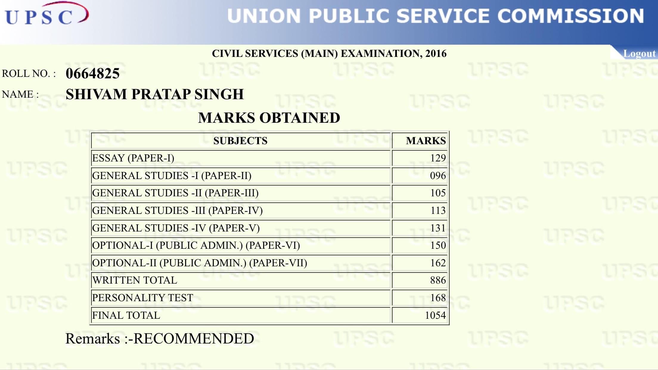 AIR 52 UPSC CSE 2016 Shivam Pratap Singh, IAS/UPSC TOPPERS STRATEGY-PUBLIC ADMINISTRATION