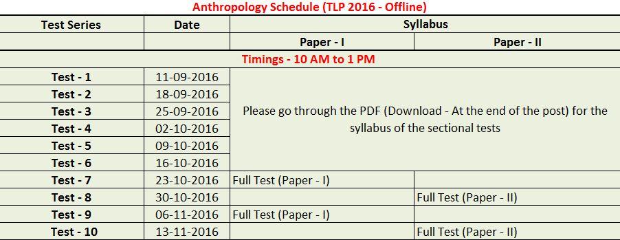 Anthropology Schedule