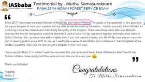 IASbaba 60 Day Plan Testimonial by Muthu S Rank 23 IFOS
