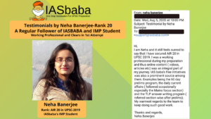 Rank 20 NEHA BANERJEE UPSC CSE 2019 TOPPER IASbaba's IMP Student